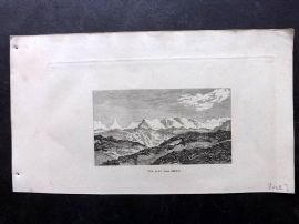 Phillips (Pub) 1823 Antique Print. The Alps (From Berne) Switzerland
